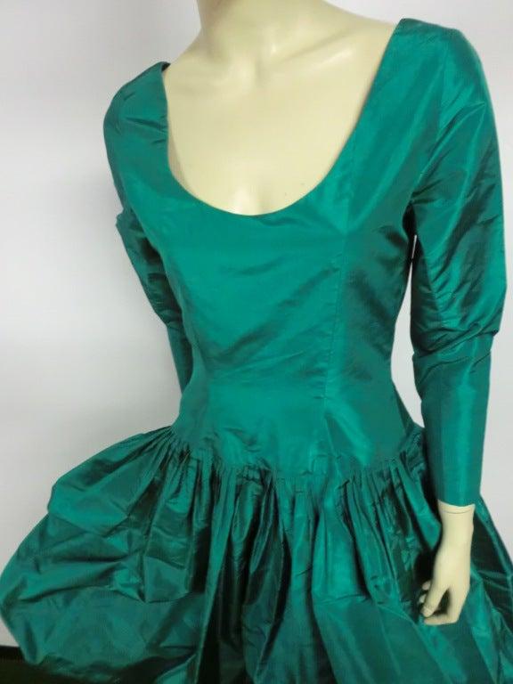 Bill Blass 70s Silk Taffeta Extravagant Bubble Hem Dress 6