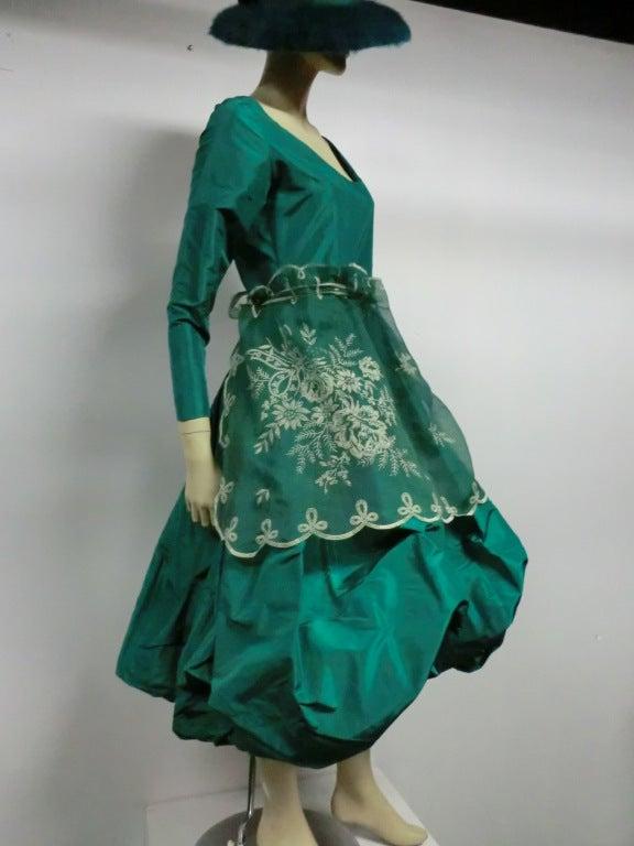 Bill Blass 70s Silk Taffeta Extravagant Bubble Hem Dress 8
