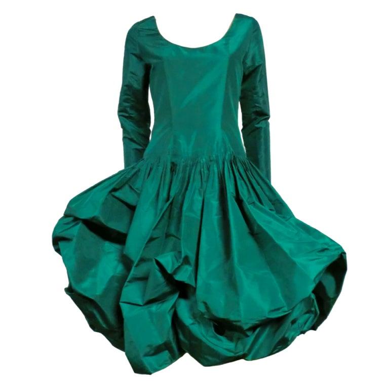 6aac93791a Bill Blass 70s Silk Taffeta Extravagant Bubble Hem Dress For Sale at ...