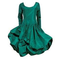 Bill Blass 70s Silk Taffeta Extravagant Bubble Hem Dress