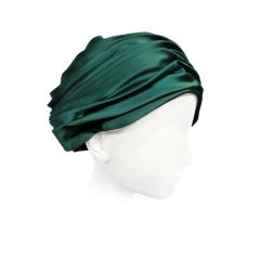 Christian Dior 60s Emerald Satin Turban