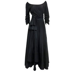 40s Rayon Faille Gown w/ Lovely Cascading Ruffled Back