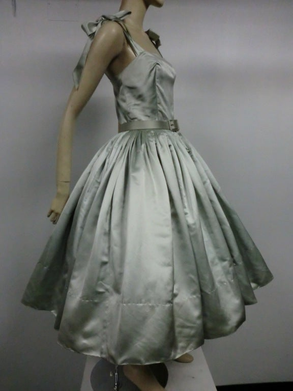 Traina-Norell 50s Mint Green Silk Satin Party Dress 2