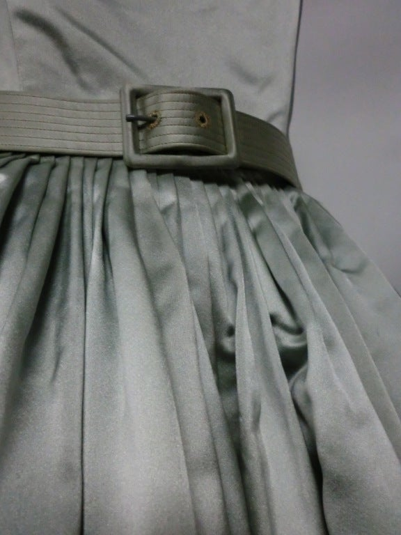 Traina-Norell 50s Mint Green Silk Satin Party Dress 3