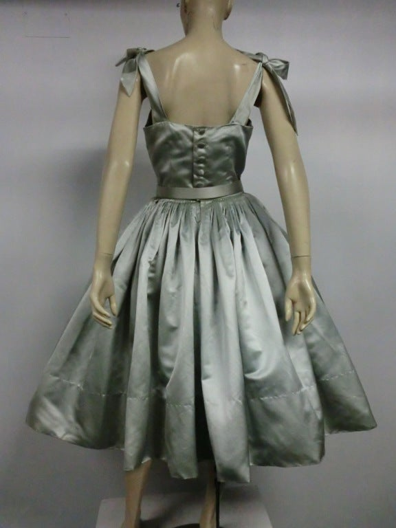 Traina-Norell 50s Mint Green Silk Satin Party Dress 4