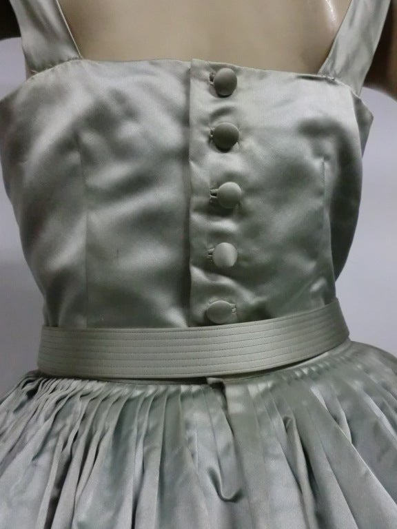 Traina-Norell 50s Mint Green Silk Satin Party Dress 6