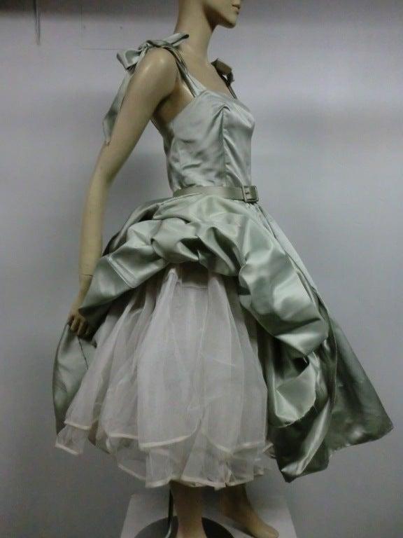 Traina-Norell 50s Mint Green Silk Satin Party Dress 8