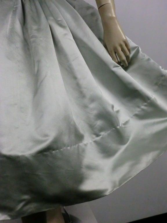Traina-Norell 50s Mint Green Silk Satin Party Dress 9