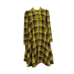 Bonnie Cashin 60s Wool Tweed Plaid Swing Coat w/ Leather Piping