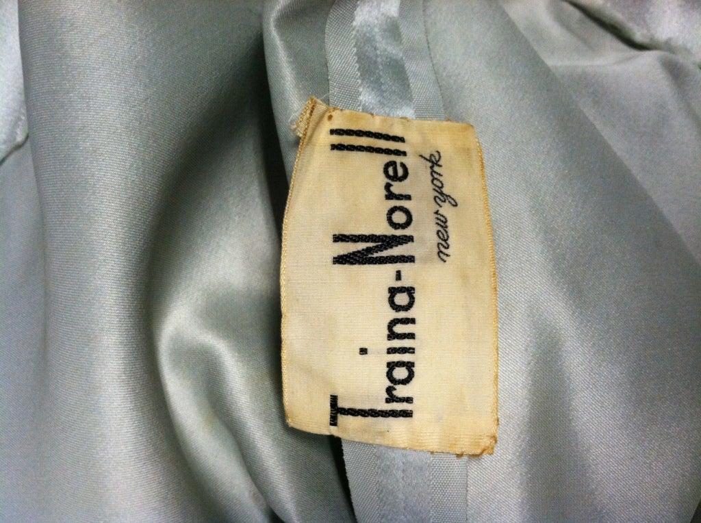Traina-Norell 50s Mint Green Silk Satin Party Dress 10