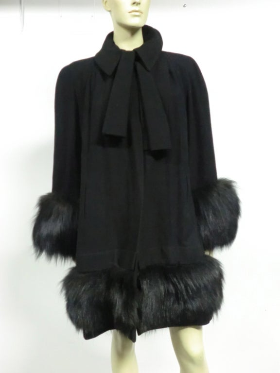 40s Black Wool Stroller Coat w/ Extravagant Fox Trim image 2