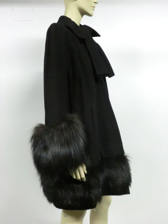 40s Black Wool Stroller Coat w/ Extravagant Fox Trim image 3