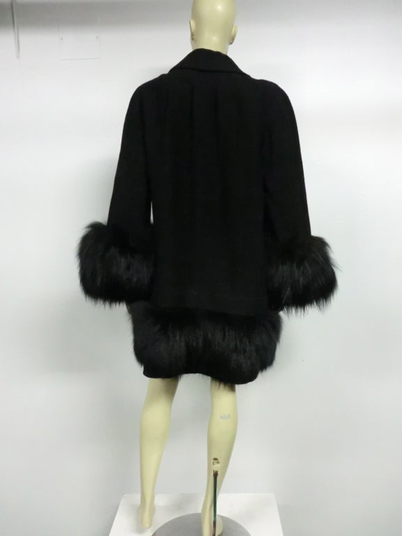 40s Black Wool Stroller Coat w/ Extravagant Fox Trim image 4