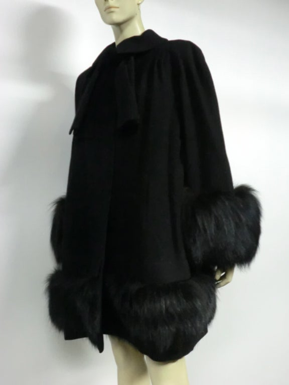 40s Black Wool Stroller Coat w/ Extravagant Fox Trim image 5