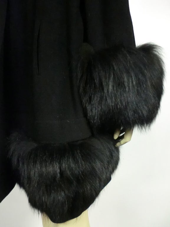 40s Black Wool Stroller Coat w/ Extravagant Fox Trim image 6
