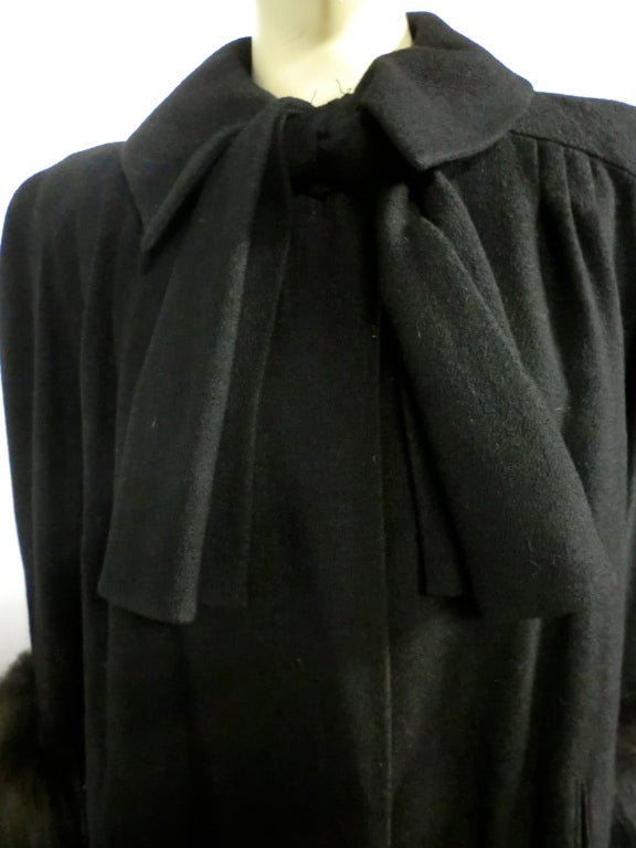 40s Black Wool Stroller Coat w/ Extravagant Fox Trim image 7