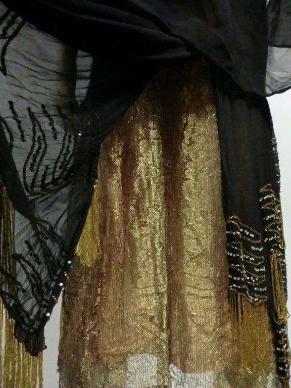 20s Gold Lamé Lace Flapper Dress with Bead Fringe & Rhinestones 10