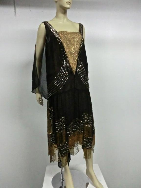20s Gold Lamé Lace Flapper Dress with Bead Fringe & Rhinestones 2