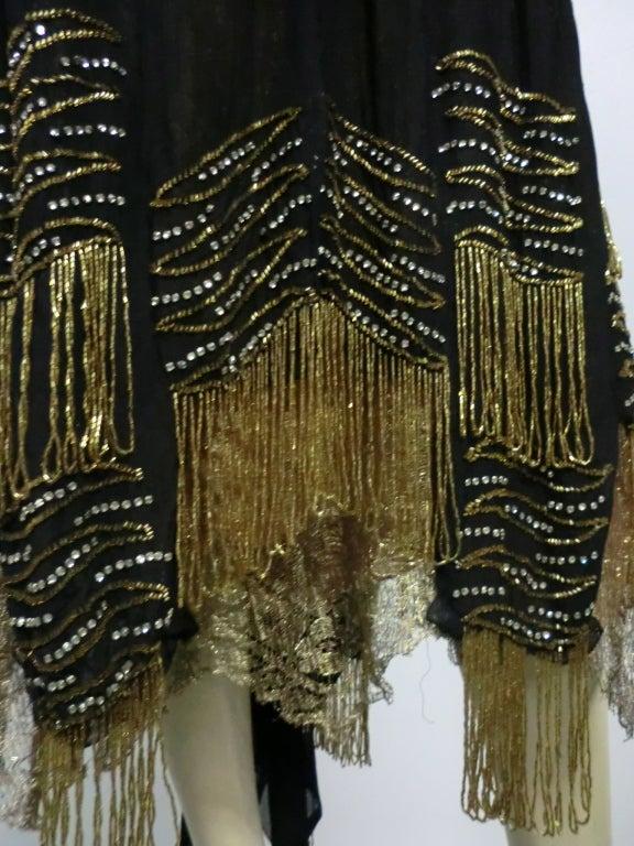 20s Gold Lamé Lace Flapper Dress with Bead Fringe & Rhinestones 3