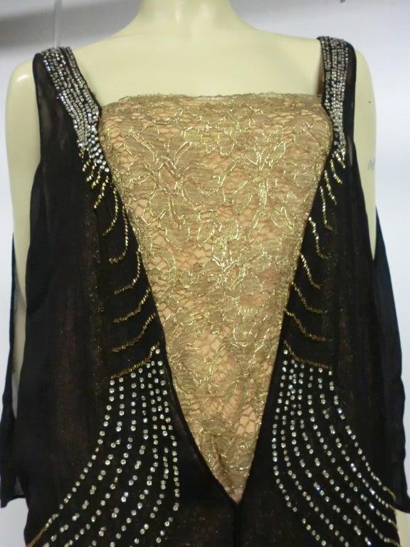 20s Gold Lamé Lace Flapper Dress with Bead Fringe & Rhinestones 4