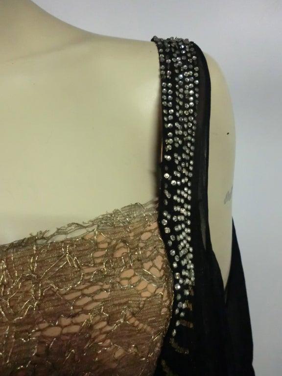 20s Gold Lamé Lace Flapper Dress with Bead Fringe & Rhinestones 5