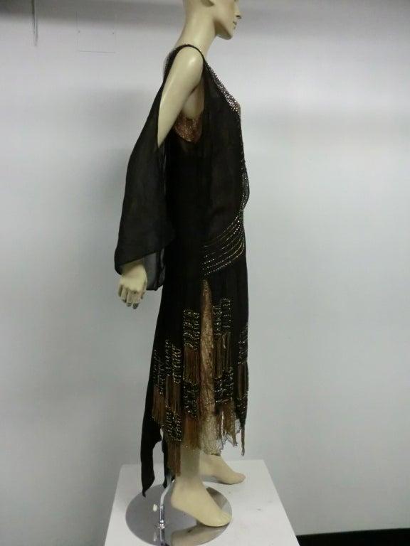 20s Gold Lamé Lace Flapper Dress with Bead Fringe & Rhinestones 6