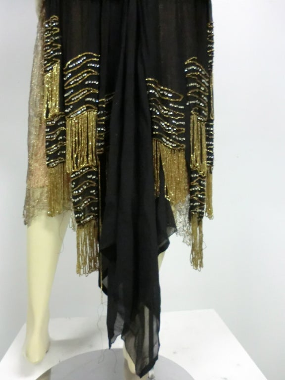 20s Gold Lamé Lace Flapper Dress with Bead Fringe & Rhinestones 8