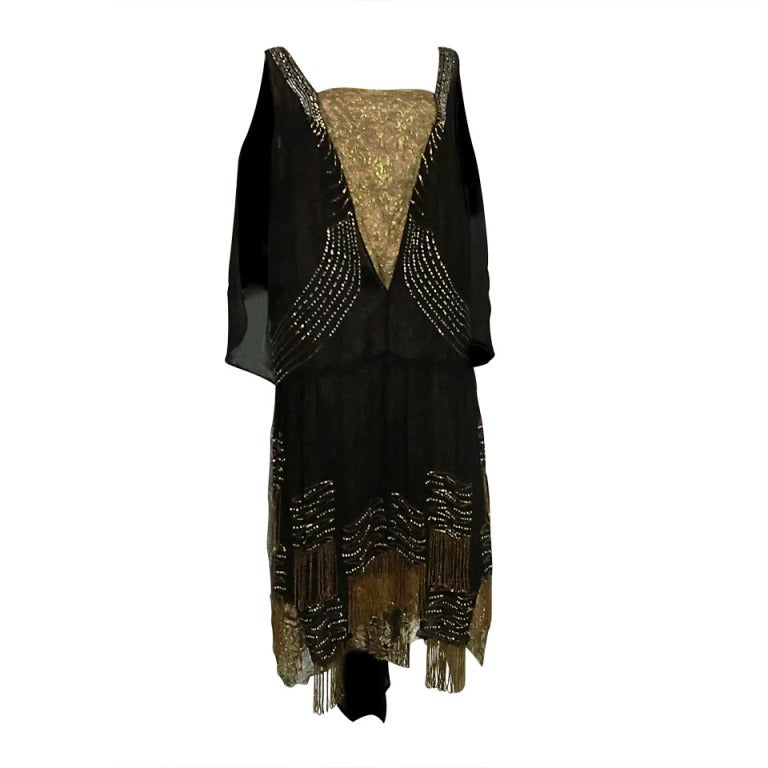 20s Gold Lamé Lace Flapper Dress with Bead Fringe & Rhinestones 1