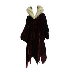 20s Silk Velvet Evening Cocoon Coat w/ Lush Chinchilla Collar