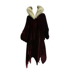 20s Silk Velvet Evening Cocoon Coat w/ Lush Chinchilla Collar
