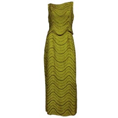 60s Chartreuse Beaded Silk Crepe Two-Piece Gown
