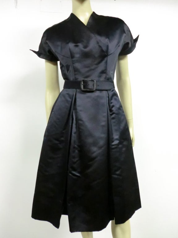 50s French Import Midnight Blue Silk Satin Cocktail Dress 2