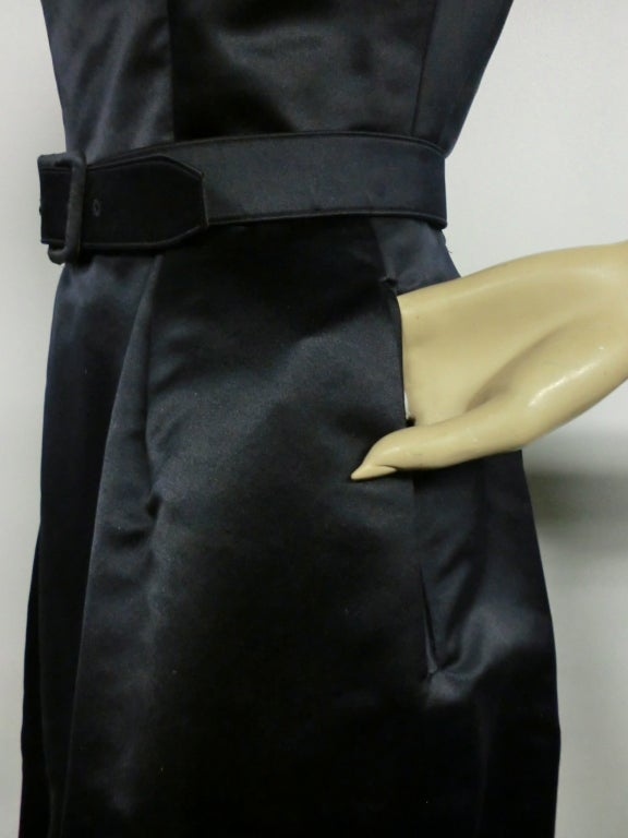 50s French Import Midnight Blue Silk Satin Cocktail Dress 3