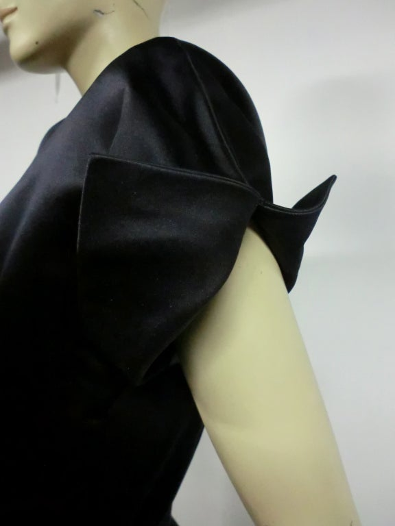 50s French Import Midnight Blue Silk Satin Cocktail Dress 4