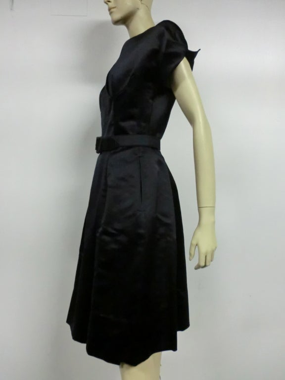 50s French Import Midnight Blue Silk Satin Cocktail Dress 5