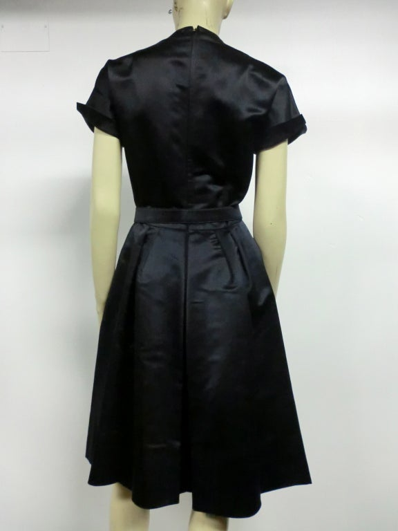 50s French Import Midnight Blue Silk Satin Cocktail Dress 6