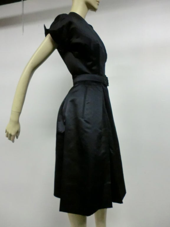 50s French Import Midnight Blue Silk Satin Cocktail Dress 7