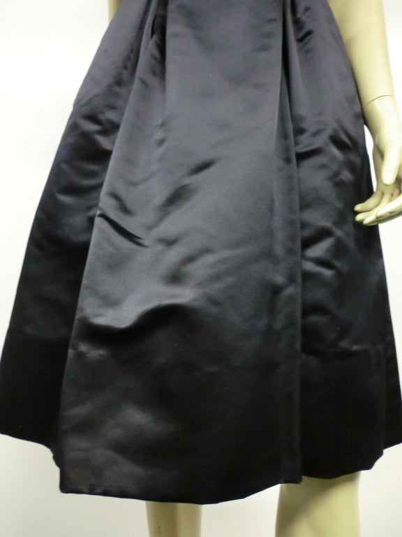 50s French Import Midnight Blue Silk Satin Cocktail Dress 10