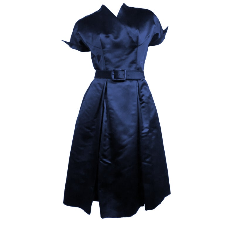 50s French Import Midnight Blue Silk Satin Cocktail Dress 1