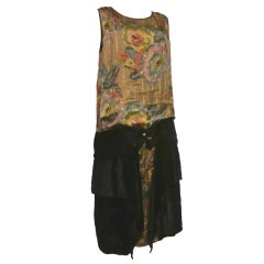 20s Gold Floral Lamé and Velvet Gatsby Dress w/ Buckle Detail