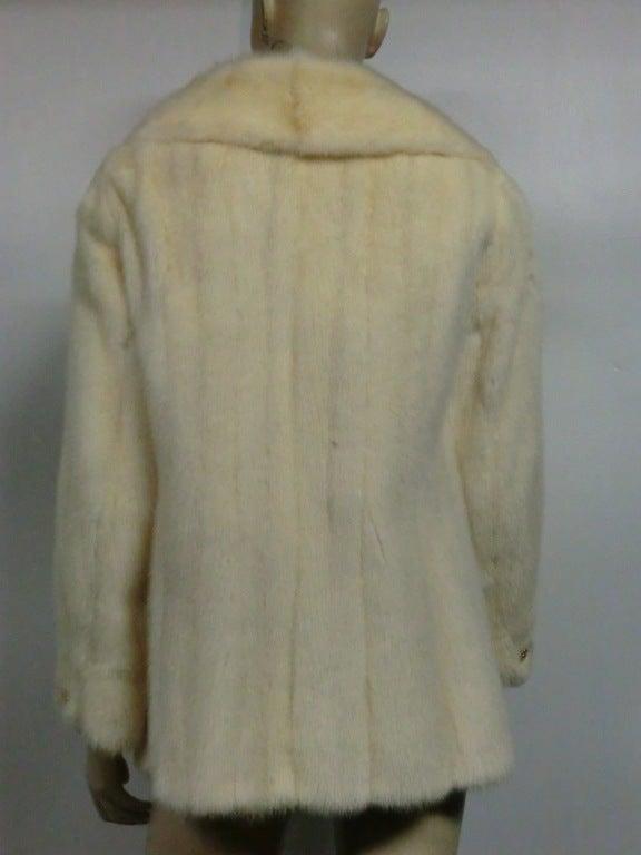 Winter White Mink 60s Pea Coat Style Jacket At 1stdibs