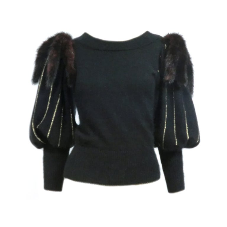 70s Angora, Wool and Gold Lurex Sweater with Mink Tail Shoulders 1