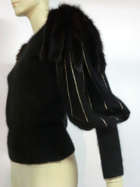 70s Angora, Wool and Gold Lurex Sweater with Mink Tail Shoulders 3