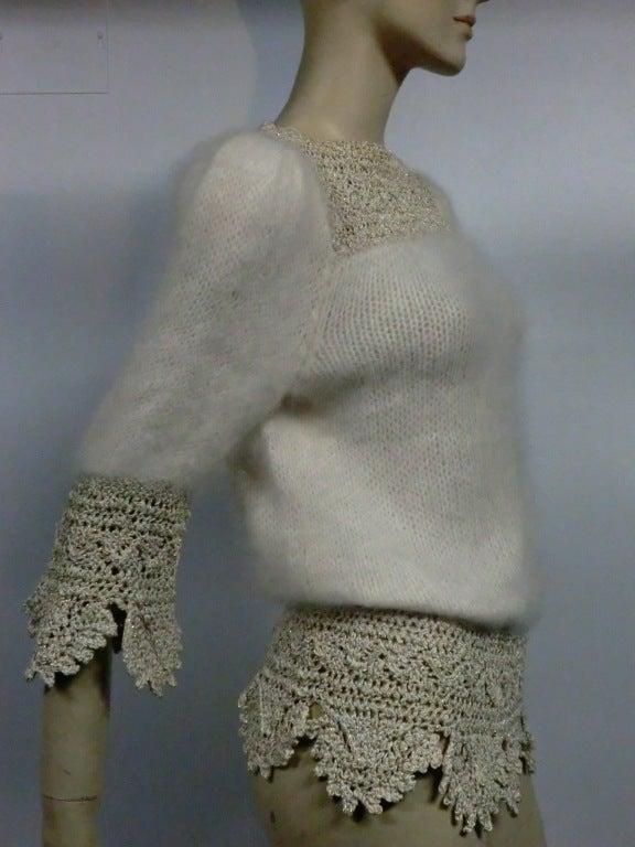 70s Angora, Wool and Lurex Knit and Crochet Sweater 2
