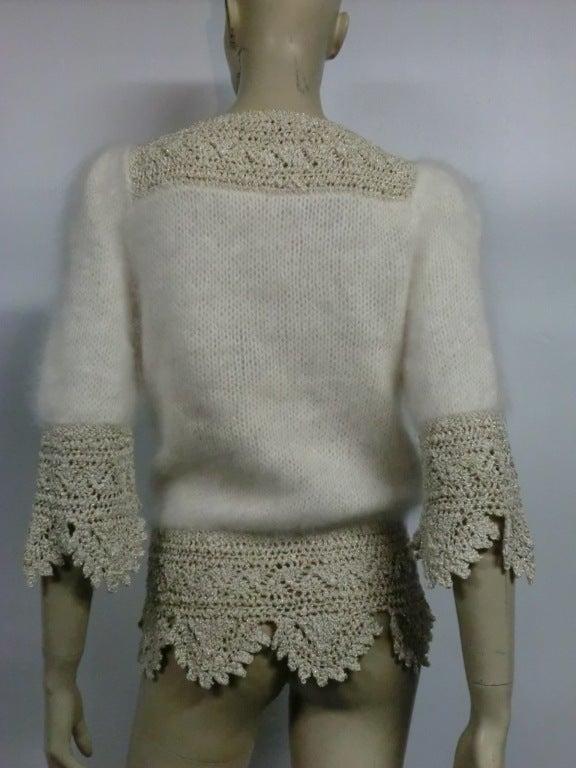 70s Angora, Wool and Lurex Knit and Crochet Sweater 3