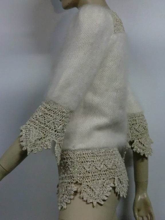 70s Angora, Wool and Lurex Knit and Crochet Sweater 4