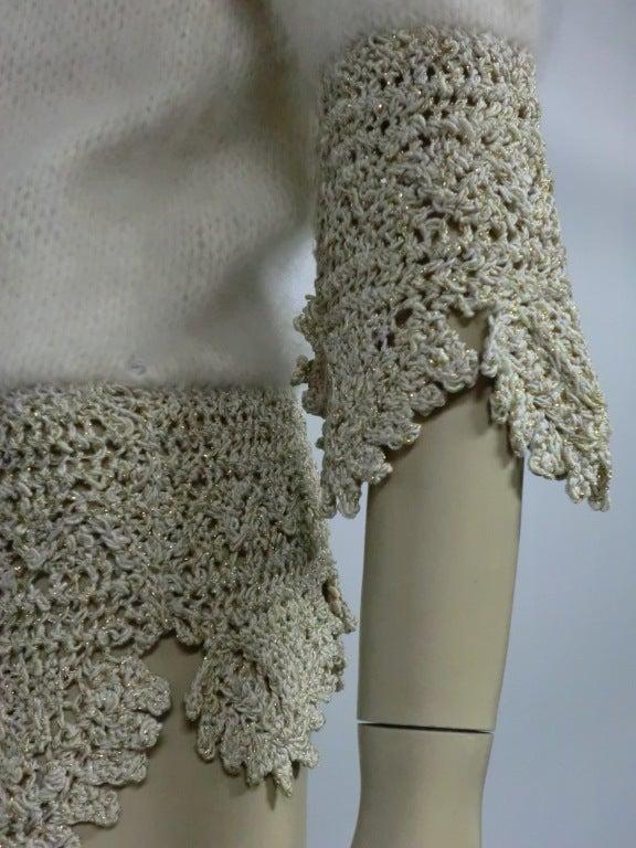 70s Angora, Wool and Lurex Knit and Crochet Sweater 5