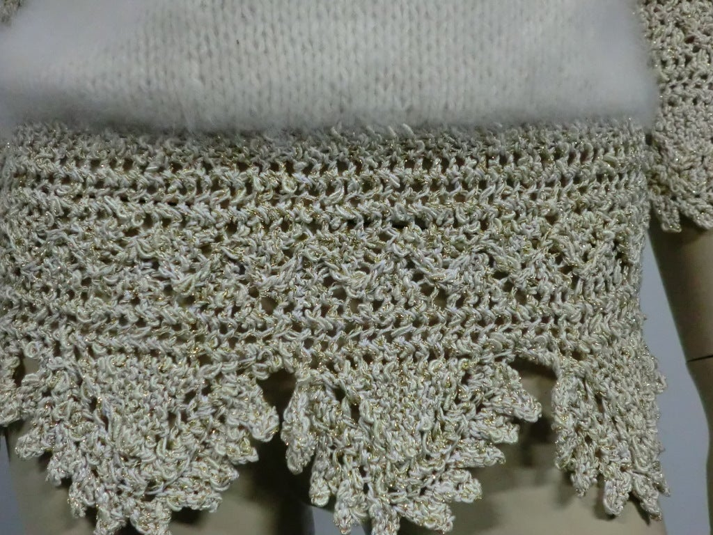 70s Angora, Wool and Lurex Knit and Crochet Sweater 6