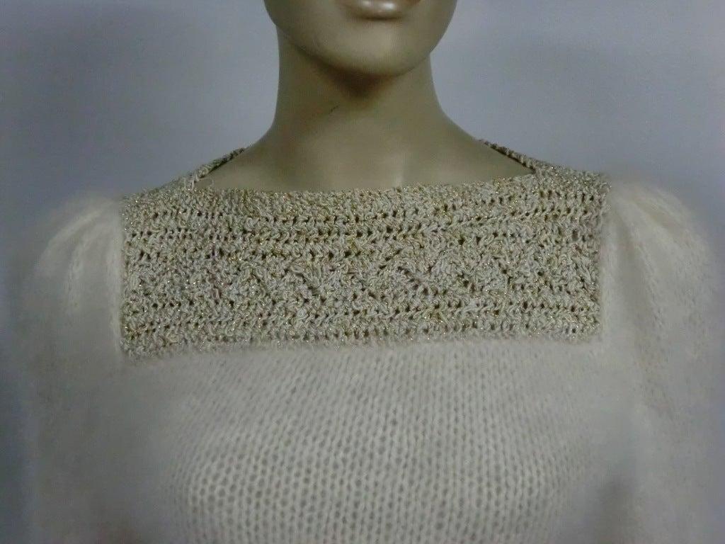 70s Angora, Wool and Lurex Knit and Crochet Sweater 7