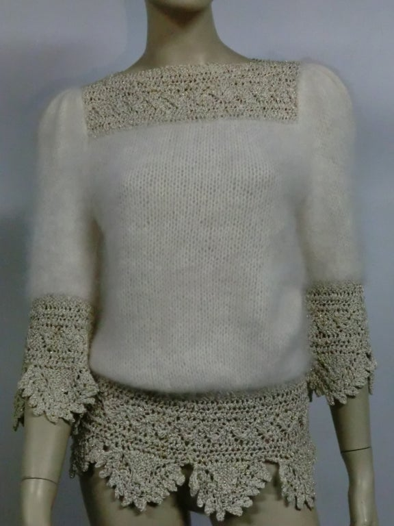 70s Angora, Wool and Lurex Knit and Crochet Sweater 8